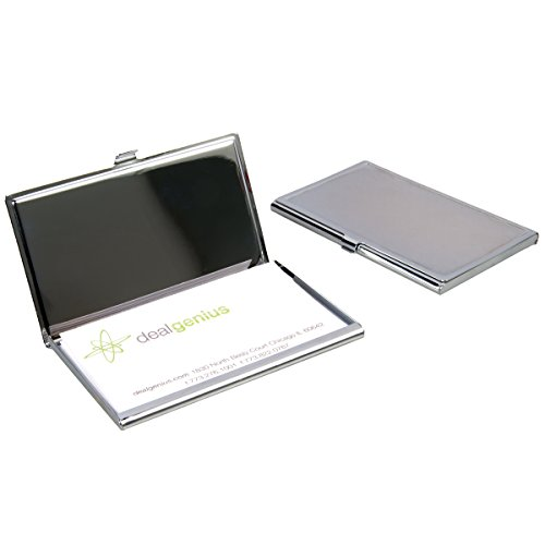 2 Travel Pocket Business Card Holders Cases Portable Engravable Chrome Finish