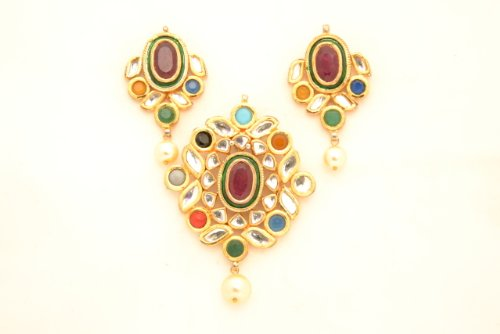 Fashion Balika Fashion Jewelry Gold-Plated Pendant Set For Women Multi-Colour-BFJER125 (Multicolor)