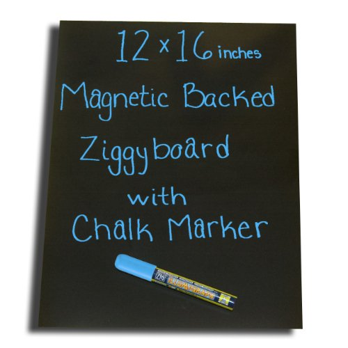 Magnetic Backed Kitchen or Office Ziggyboard Chalkboard with Light Blue chalk marker 12 x 16 inches (Refrigerator Magnet Chalkboard compare prices)