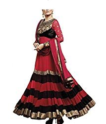 HK Trading Women's Georgette Unstitched Dress Material (MHARI49234486950_Red Black Golden_Free Size)