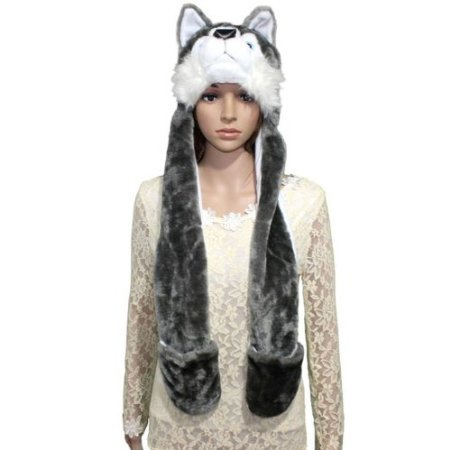 Plush Wolf Animal Winter Hat with Ear Flaps and Hand Pockets (One Size Fits All)