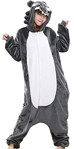 [Pulle-A New Pajamas Wolf Anime Costume Adult Animal Onesie Cosplay L] (Wolf Costume Halloween Express)