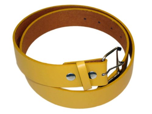"Men'S Fashion And Dress Pu Belt 1.5 "" Wide Yellow-Xl"