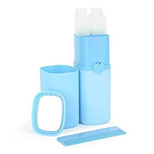 LUOYIMAN® Travel kits Wash Cup portable Business trips Handy Travel Wash Supplies Toothbrush Box(Blue)