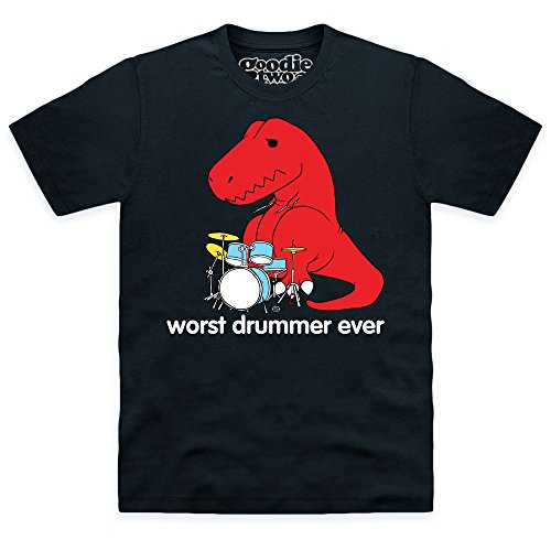 Goodie Two Sleeves Worst Drummer Ever T-shirt, Uomo, Nero, S