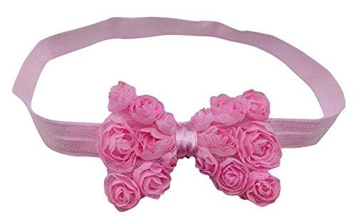 PinkXenia Pink Elastic Rose Flower Newborn Babygirl Soft Headband