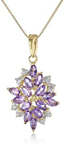 18k Yellow Gold Plated Sterling Silver Genuine African Amethyst and Diamond Accent Drop Pendant Necklace, 18""