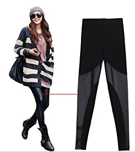 LOCOMO Women Faux Leather Mesh Inset Ankle Length Footless Legging Tregging Tight Skinny Slim FFT013 One Size
