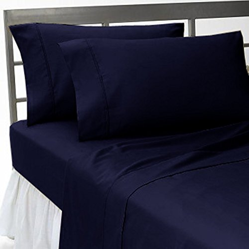 400 Thread Count Discounted Price Luxury Navy Blue Solid King 4-Piece Soft Sheet Set With 19 Inches Extra Large Deep 100 % Egyptian Cotton Made By Brand Srp Linen front-1038918