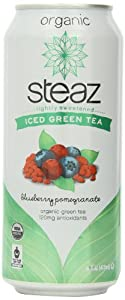 Steaz Organic Iced Teaz, Green Tea with Blueberry, Pomegranate,  16-Ounce Cans, 12-Count
