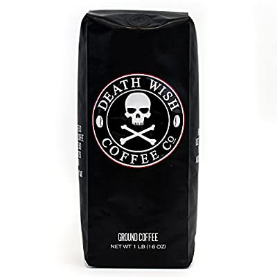 Death Wish Ground Coffee, The World's Strongest Coffee, Fair Trade and USDA Certified Organic, 16 Ounce by Death Wish Coffee Company