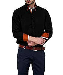 Dazzio Men's Slim Fit Cotton Casual Shirt (DZSH0126_Grey_40)