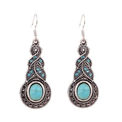 Fashion Womens Retro Turquoise Rhinestone Earrings Necklace Jewelry Set