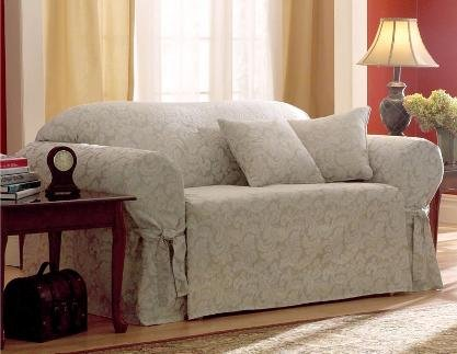 Sure Fit Scroll 1 Piece Sofa Slipcover Champagne Import It All