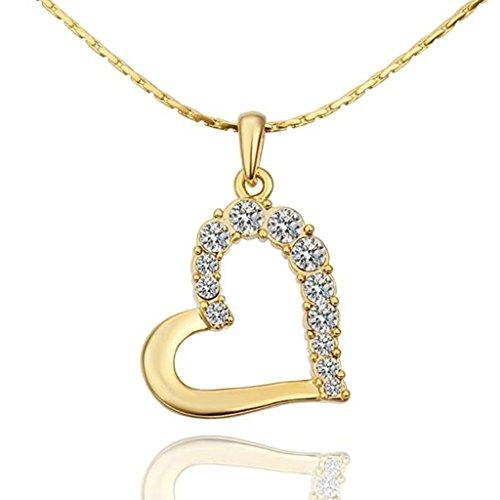 Aomily Gioielli 18K Oro Placcato Chain Collana Catenina Collane per le Donne Cava Cuore Pendente Bianco Crystal Gold