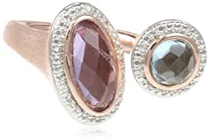 Bronze and 18k Rose Gold Plated Two-Tone Genuine Brazilian Amethyst and Sky Blue Topaz Bypass Ring, Size 7
