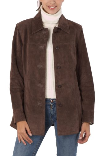 BGSD Women's Classic Suede Leather Car Coat - Brown L
