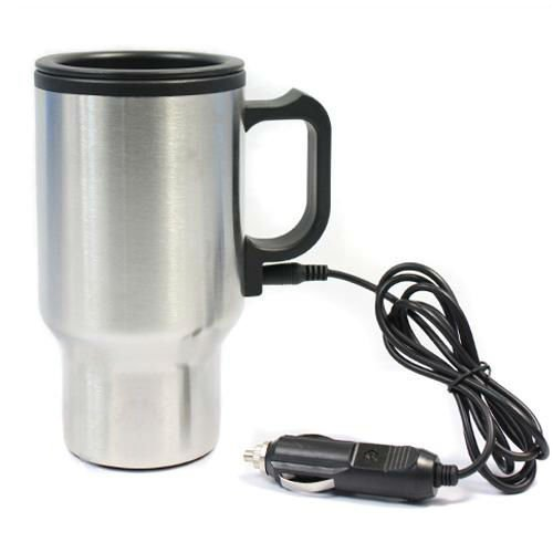 Gaorui Heated 12V Car Mug Auto Travel Heating Cup With Airtight Lid And Anti-Spill Slider - Stainless Steel - For Hot Coffee Warm Tea