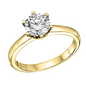 GIA Certified 14k yellow-gold Round Cut Diamond Engagement Ring (0.73 cttw, F Color, VS1 Clarity)