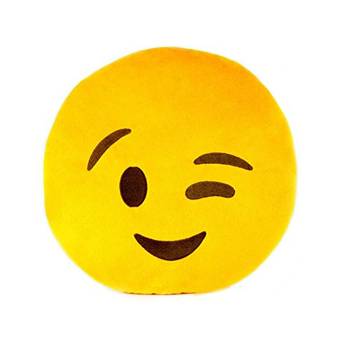 Best Price HeroNeo® Soft Emoji Smiley Emoticon Yellow Round Cushion Pillow Stuffed Plush Toy Doll (Wink)