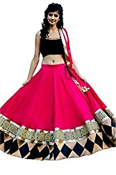SiyaRam Women's Lehenga Choli (Kaju Katri Pink Black Lehenga_pink black_Free Size)