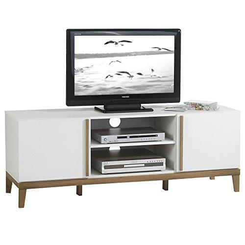 TV-Rack-Lowboard-Hifi-Mbel-Fernsehtisch-Beistelltisch-Wohnzimmertisch-RIGA-2-Fcher-2-Tren-weiMassivholz