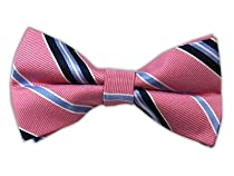 100% Silk Woven Pink Striped Self-Tie Bow Tie