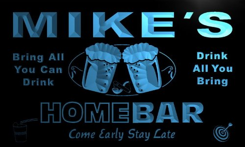 Adv Pro P105-B Mike'S Home Bar Beer Family Last Name Neon Light Sign