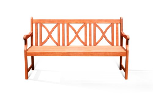 VIFAH V100 Outdoor Wood Bench X-Back Design, Natural Wood Finish, 66 by 24 by 35-Inch