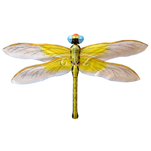 3D Yellow Silk Dragonfly Kite Hand-Crafted Kites For Home Décor
