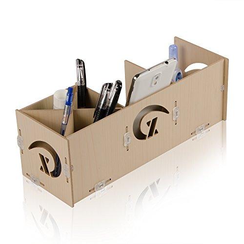 Kmashi� Wooden DIY Desk Desktop Organizer Box Storage Cabinet Pencil Pen Cellphone Holder Stand with Sorter-card Cable Cord Management Organiser