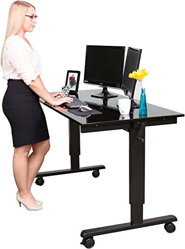 Höhenverstellbarer Schreibtisch (Rahmen schwarz / Hochglanzdeckel schwarz, Schreibtisch Länge: 150cm)