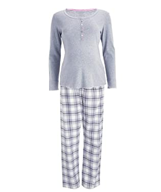 Maternity Check Pyjama Set - Grey/Pink