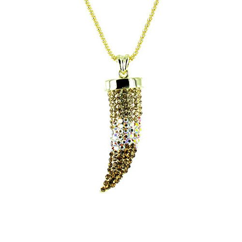 Brown on Gold Plated Small Bling Claw Tusk Horn Necklace