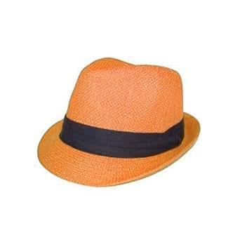 Amazon.com: Orange Tweed Fedora Cuban Hat Fun Halloween Fun Costume