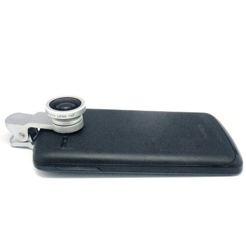 Docooler Universal Clip-On 3 In 1 Fisheye Wide Angle Macro Camera Lens For Iphone 5 5S 4 4S Samsung Htc (Silver)