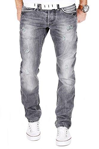 AMICA by MERISH Herren Jeans Straight Fit Destroyed Blue Jeans J9653 Grau 32/32