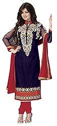 Meghali Women's Cotton Unstitched Salwar Suit (MGHR2D03_Blue_Free Size)