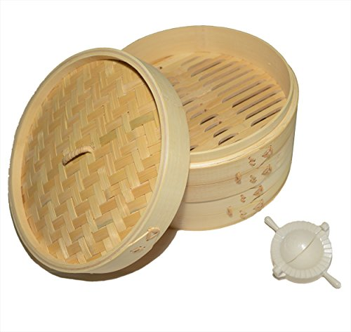 100% Natural Traditional Bamboo Steamer with 20 sheets of wax paper and mini dumpling press - Provides a healthier way to cook food while impressing guests (3 Tier Electric Steamer compare prices)