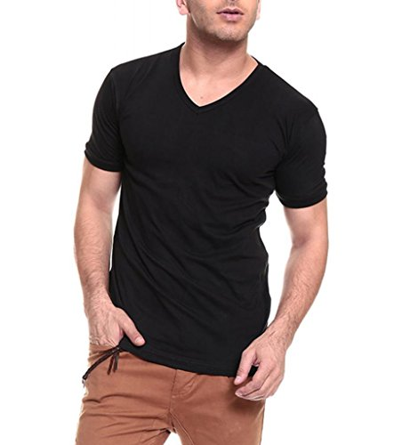 Izinic Men's V-Neck Half Sleeve Cotton T-Shirt [Black_X-Large]