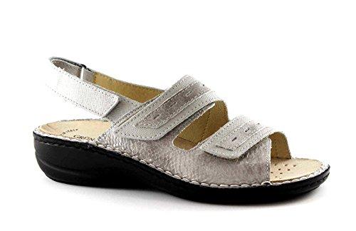 GRUNLAND DARA SE0061 taupe argento sandali donna strappi plantare estraibile 42