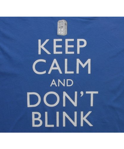 Doctor Who Keep Calm And Don't Blink T-shirt (Medium, Royal Blue)