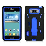 3 in One Hybrid Case w/ Kickstand – Blue Rubber+Black Skin with Kickstand Phone Cover Case for LG Venice / Splendor US730 -Best Deals And Discounts 2013