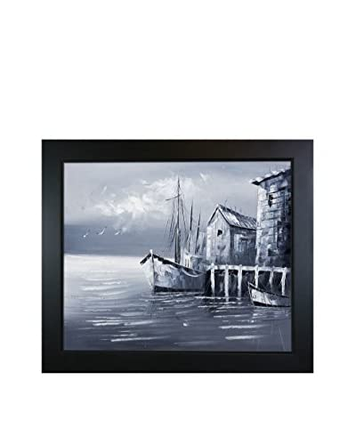 Fishing Boats (Evening Effect) Framed Oil Painting
