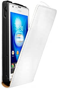 mumbi PREMIUM Leder Flip Case Sony Xperia SP Tasche weiss