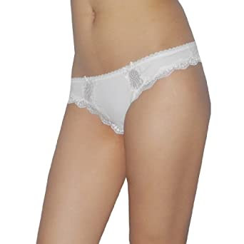 Ladies Sexy Ambrielle Hipster Stretch Brief Thong Panties Large White