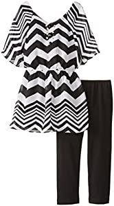 Amy Byer Big Girls' Chevron Striped Top with Leggings Set, E- Black/White, X-Large