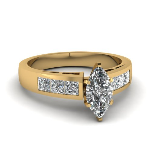 Cheapest 1.70 Ct Marquise & Princess Cut Diamond Engagement Wedding Rings Channel Set 14K Gold SI1 GIA