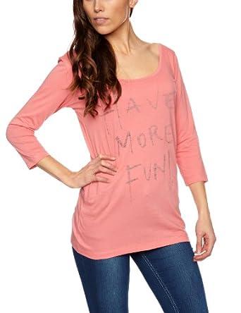 Replay W3381B Slogan Women's T-Shirt Light Coral Pink Medium