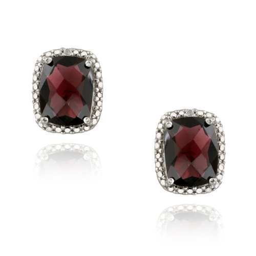 Sterling Silver 5.5ct Garnet & Diamond Accent Cushion Cut Earrings